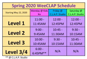 Spring 2020 WeeCLAP Schedule