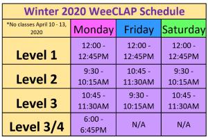 WeeCLAP Winter 2020 Schedule